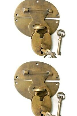 "2 heavy HASP & STAPLE Padlock and KEY included WORKS 5"" OVAL catch latch B 10"