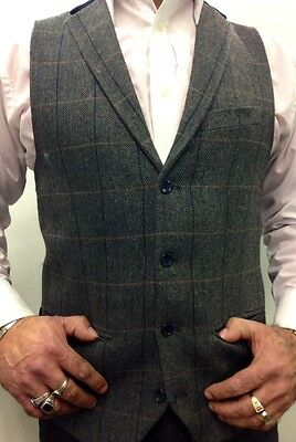 Marc Darcy Tweed Charcoal Vintage Herringbone Waistcoat Velvet Collared trim. 4