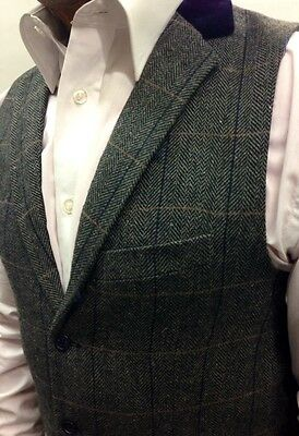 Marc Darcy Tweed Charcoal Vintage Herringbone Waistcoat Velvet Collared trim. 2