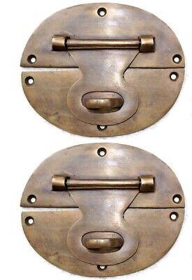 "4 large heavy HASP & STAPLE 5"" OVAL catch latch box door solid brass B 7"