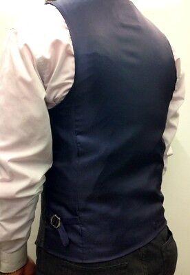 Marc Darcy Tweed Charcoal Vintage Herringbone Waistcoat Velvet Collared trim. 3