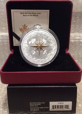 2019 Rose of the Winds $50 5OZ Pure Silver Proof 65mm Coin Canada, Fleur-de-lis 4