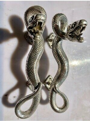 2 SNAKE Python silver plated over brass door PULL hollow house PULL handle 35cmB 3