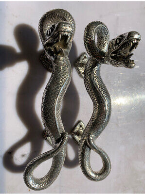 2 SNAKE Python silver plated over brass door PULL hollow house PULL handle 35cmB 2