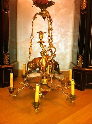 Amazing Antique French Bronze 6 light Chandelier 2