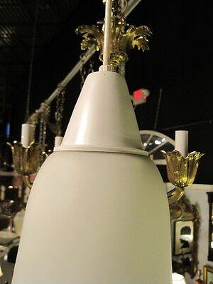 Mid Century Modern Pendent Chandelier Italian Hand Blown Satin Glass Lantern 3