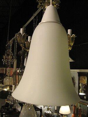 Mid Century Modern Pendent Chandelier Italian Hand Blown Satin Glass Lantern 11