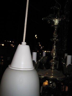 Mid Century Modern Pendent Chandelier Italian Hand Blown Satin Glass Lantern 4