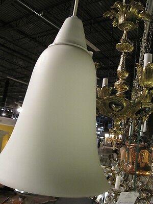 Mid Century Modern Pendent Chandelier Italian Hand Blown Satin Glass Lantern 2