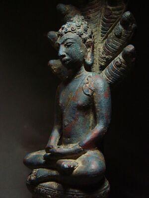 A  RARE BRONZE DVARAVATI NAGA PROTECTED BUDDHA. MON DVARAVATI ART 10th C. 9