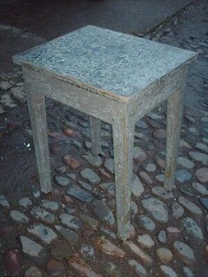 Antique Rustic Pine Painted Side Table 7