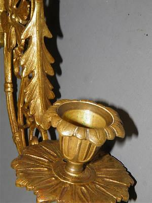 Antique French Pair Candle Sconces Bronze/brass Ornate Acanthus  Leaf Rosettes