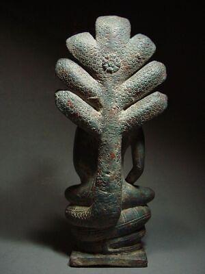A  RARE BRONZE DVARAVATI NAGA PROTECTED BUDDHA. MON DVARAVATI ART 10th C. 4