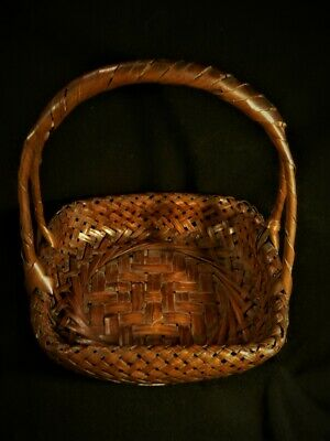 Antique Old Japanese signed Japan IKEBANA Woven Intricate Asian BASKET 2