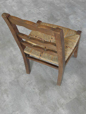 Vintage Chair wood Oak antique Farmhouse Stool Children Bench Seat Kid armchai 5