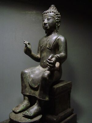 ENTHRONED BRONZE MON DVARAVATI BUDDHA 'EUROPEAN STYLE'. BURMA INFLUENCE 17/18thC 2