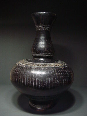 AYUTTHAYA BROWN GLAZED POTTERY VASE. 16/17th CENTURY EARTHENWARE