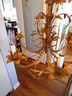 Mid Century Italain Faux Bamboo Gold Gilt on Iron Chinese Regency Chandelier1960 4