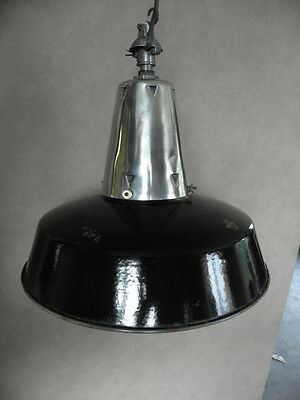 CEILING light PENDANT antique vintage enamel shade lamp industrial machine age 11