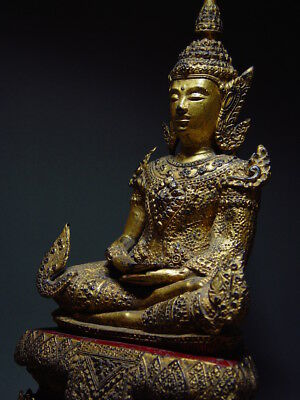ANTIQUE BRONZE MEDITATING CROWNED RATTANAKOSIN BUDDHA. TEMPLE RELIC 18/19th C 3