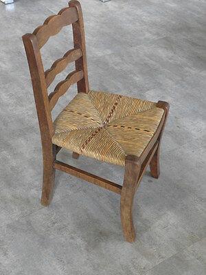 Vintage Chair wood Oak antique Farmhouse Stool Children Bench Seat Kid armchai 2