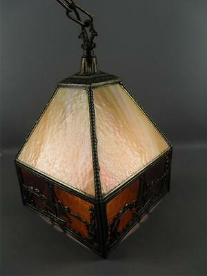 Antique Chinoiserie Slag Glass Nautical Sail Boats Hanging Light Fixture