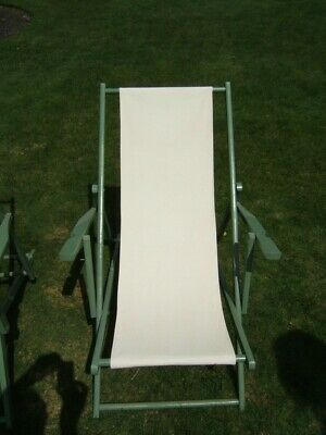 3 Vintage Painted Mahogany Seaside Canvas Lounging Chairs 4