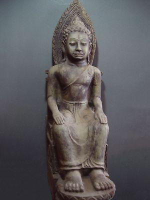 ENTHRONED BUDDHA 'EUROPEAN STYLE' SANDSTONE STONE. MON DVARAVATI PERIOD 11/12thC 11