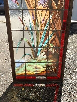 Very Rare French Pair of Painted and Fired Stained Glass Windows Double Sided 4