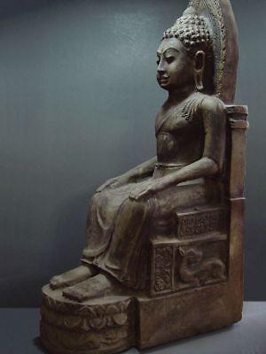 ENTHRONED BUDDHA 'EUROPEAN STYLE' SANDSTONE STONE. MON DVARAVATI PERIOD 11/12thC 2