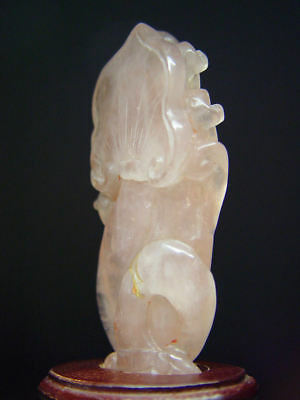 ANTIQUE CHINESE SCHOLAR'S ROSE QUARTZ 'GENTLEMAN of FLOWERS', LATE QING 19th C.