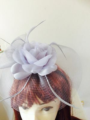 HOT Wedding Party Carnival Races Feather Millinery Fascinator Rose Hat Gray 2