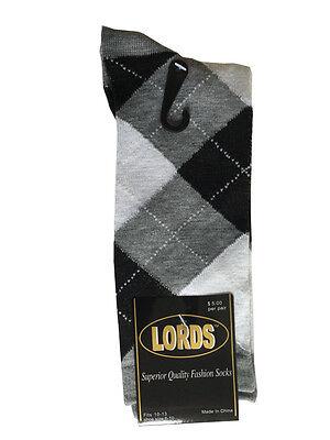 12 Pairs New Cotton Men's Lords Argyle Style Dress Socks Size 10-13 Multi-color 2