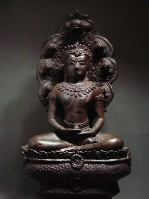 BUDDHA SHELTERED  BY NAGA'S HOOD, LOPBURI ART STYLE, 19/20th C.