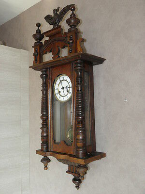 antique Clock Vienna Regulator German Wall Clock Chime horloge circa old d.r p 3