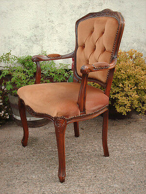 Antique Style Open Armchair With Floral Carving 6