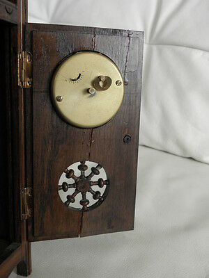 STUNNING ANTIQUE MINIATURE wood MANTLE CLOCK vintage retro uhr 9