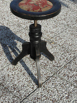 antique ADJUSTABLE seat STOOL PIANO Chair WOOD antique french wooden century vtg 3