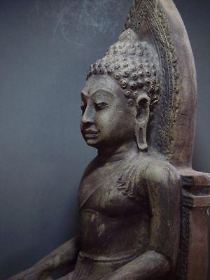 ENTHRONED BUDDHA 'EUROPEAN STYLE' SANDSTONE STONE. MON DVARAVATI PERIOD 11/12thC 4