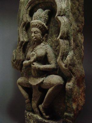 KHMER SANDSTONE TEMPLE GODDESS 'APSARA' STONE RELIEF FRAGMENT ANGKOR THOM 13th C 6