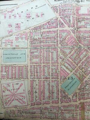 Original 1922 G.w. Bromley, Philadelphia, Pa, Girard College, Plat Atlas Map 2