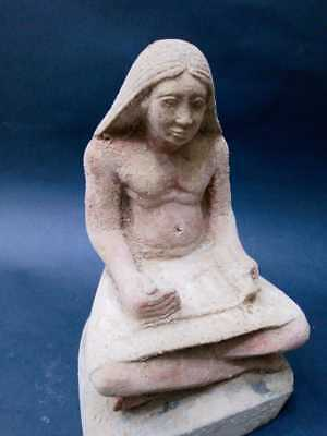 ANCIENT EGYPTIAN ANTIQUES STATUE Of Scribe Writer Old Kingdom Egypt Stone BC 2