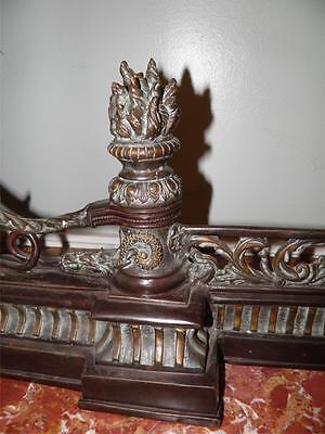 Ornate Bronze Figural Mythological Fireplace Fender Chenet 7