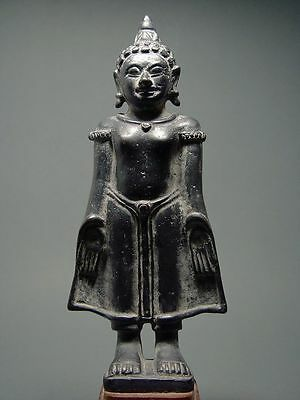 STANDING BUDDHA IN BRONZE, LAOTIAN ART. KHMER & MON INFLUENCE. 17/18th CENTURY.