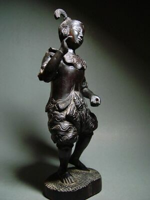 ANTIQUE INDONESIA WOOD-CARVED BALINESE TEMPLE DANCE FIGURE. CIRCA: LATE 19th C. 10