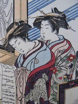 Japanese Prostitutes Woodblock Print Artists Shigemasa & Shunsho Makeup Scroll 5