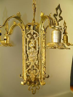 Ornate Heavy Brass Figural Knights Spanish Revival Gothic Tudor Chandelier Light 3