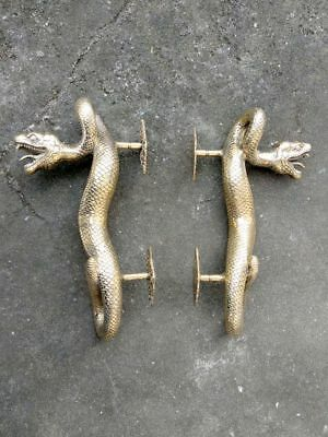 2 SNAKE Python hollow real brass door PULL old style POLISHED pair handle 35cm B 7