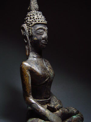 ANTIQUE BRONZE MEDITATING  SAKYAMUNI ' LAN CHANG' BUDDHA, LAOTIAN ART 9/10th C. 9