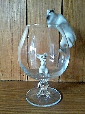 """""""""""l@@k"""""""" Cat & Mouse Brandy Glass Set Comes In Box With #free P&p# 5"""
